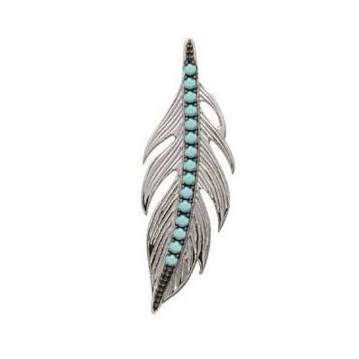 Pendentif Plume en argent rhodié et pierre turquoise - Bijoux Femme