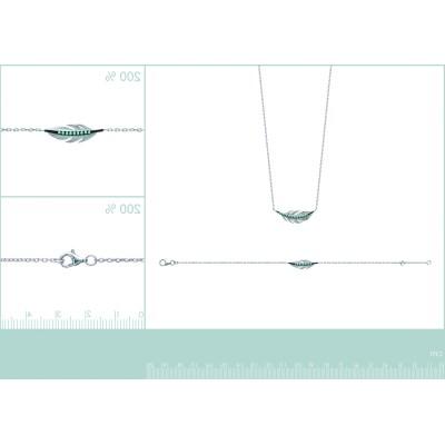 Bracelet Plume en argent et pierre turquoise - Fanny - Lyn&Or Bijoux