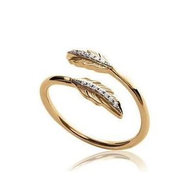 Bague plume en plaqué or et zircon - Bijoux Femme