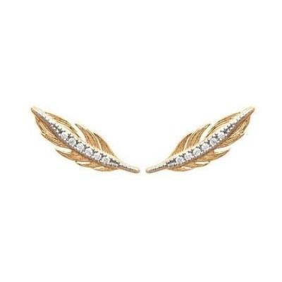 Contours d'oreilles plumes en plaqué or et zircon - Bijoux Femme