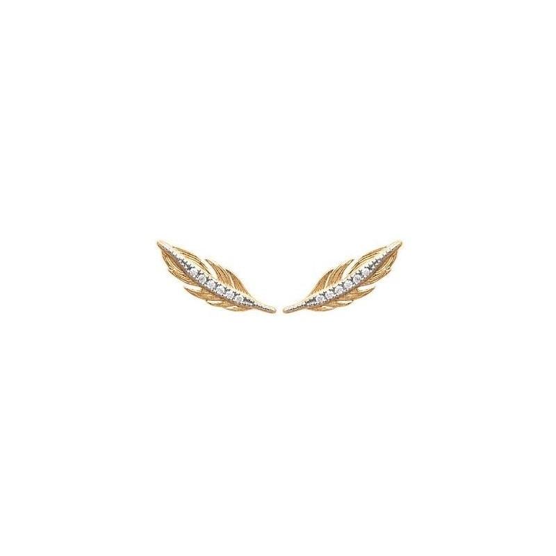 Contours d'oreilles plumes en plaqué or et zircon pour femme - Abela - Lyn&Or Bijoux