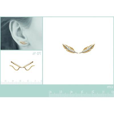 Contours d'oreilles plumes en plaqué or et zircon - Abela