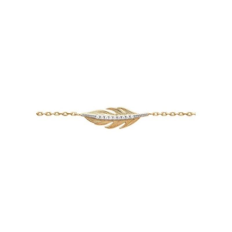 Bracelet plume en plaqué or et zircon pour femme - Abela - Lyn&Or Bijoux