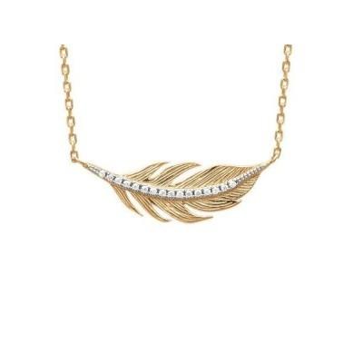 Collier plume en plaqué or et zircon - Bijoux Femme