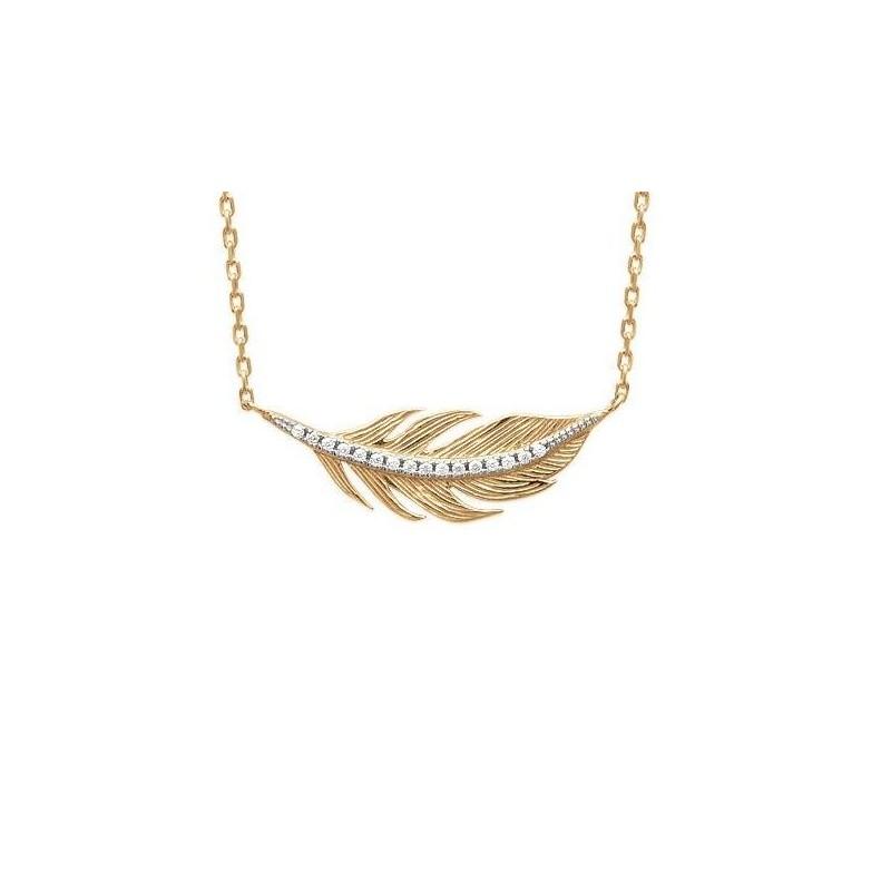 Collier plume en plaqué or et zircon pour femme - Abela - Lyn&Or Bijoux