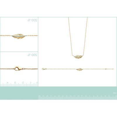 Collier plume en plaqué or et zircon - Abela