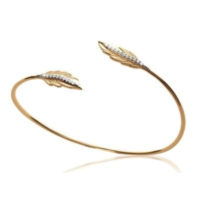 Bracelet Jonc plume en plaqué or et zircon - Bijoux Femme