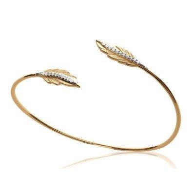 Bracelet Jonc plume en plaqué or et zircon - Abela - Lyn&Or Bijoux