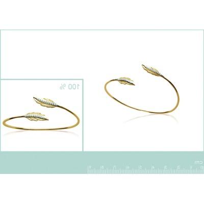 Bracelet Jonc femme, plume en plaqué or et zircon - Abela - Lyn&Or Bijoux