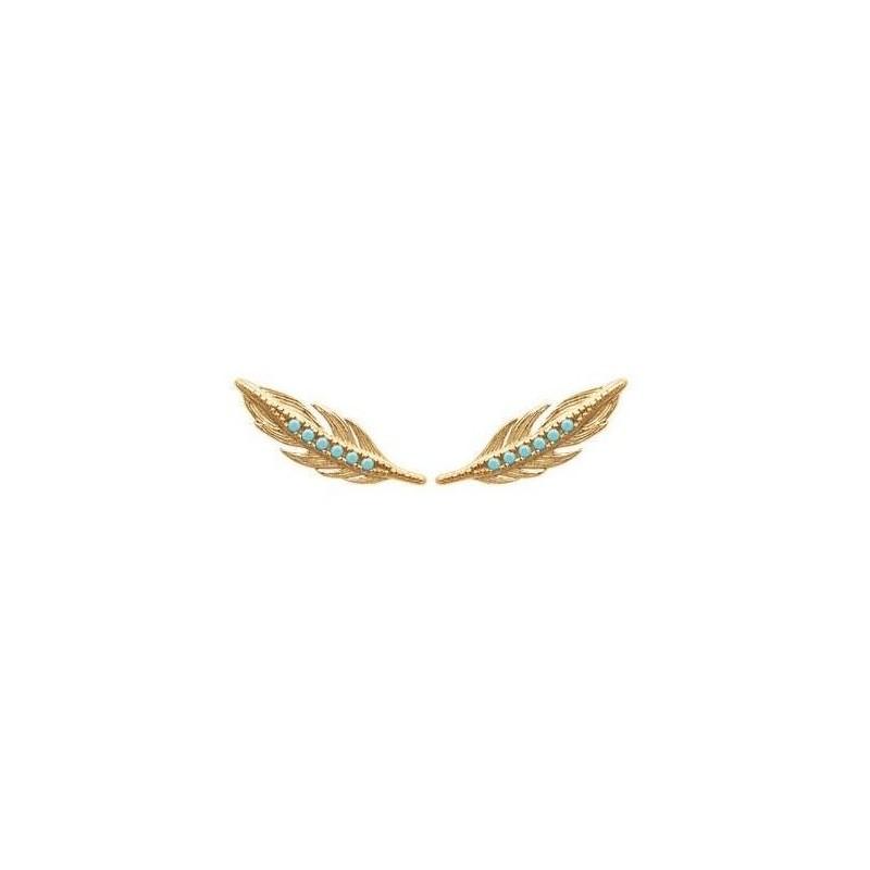 Contours d'oreilles plumes en plaqué or et pierre turquoise pour femme - Cavana - Lyn&Or Bijoux