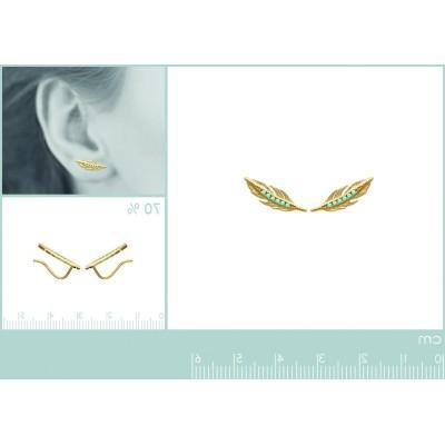 Contours d'oreilles plumes en plaqué or et pierre turquoise - Cavana