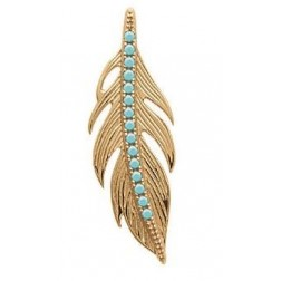 Pendentif plume en plaqué or et pierre turquoise - Bijoux Femme