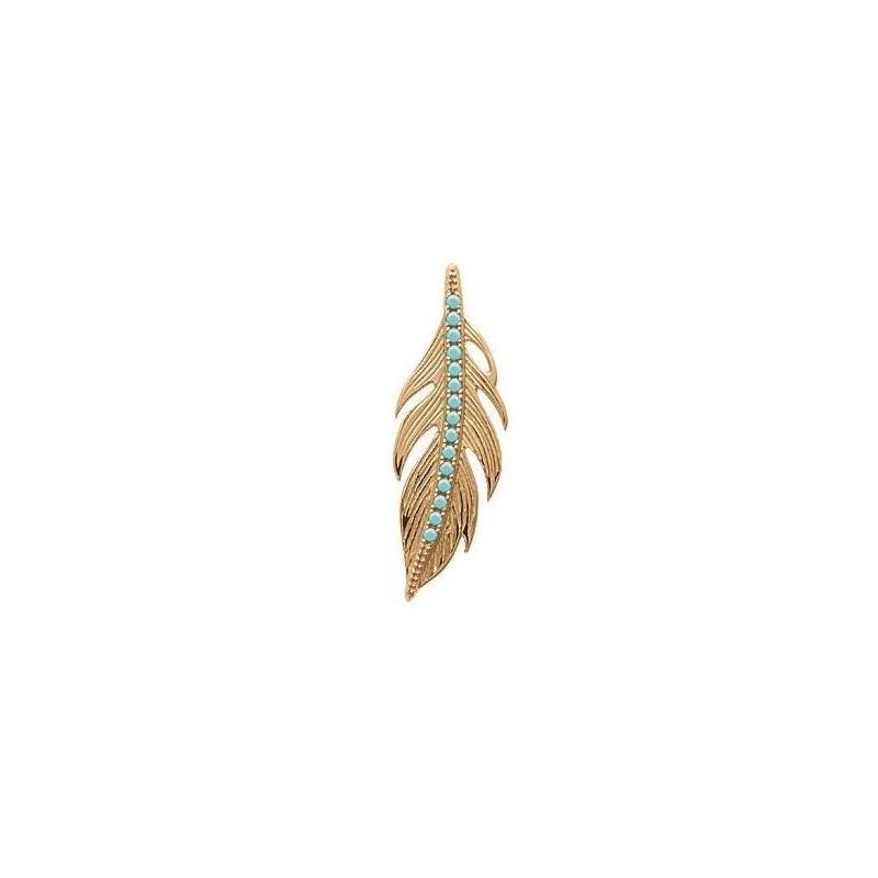 Pendentif plume en plaqué or et pierre turquoise pour femme - Cavana - Lyn&Or Bijoux