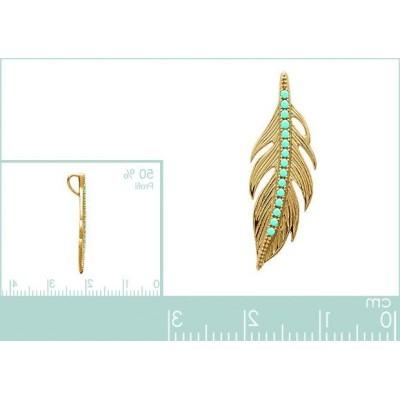 Pendentif plume en plaqué or et pierre turquoise - Cavana