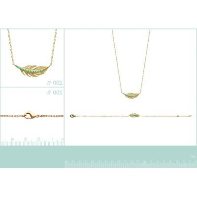 Bracelet plume en plaqué or et pierre turquoise - Cavana