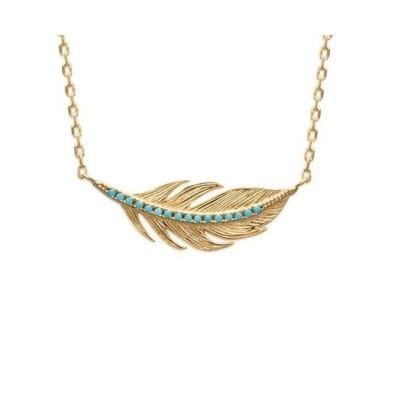 Collier plume en plaqué or et pierre turquoise - Cavana