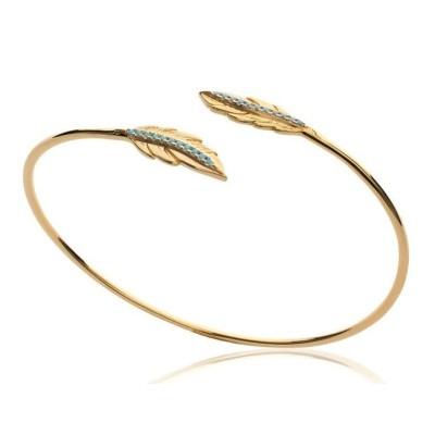 Bracelet Jonc plume en plaqué or et pierre turquoise - Bijoux Femme