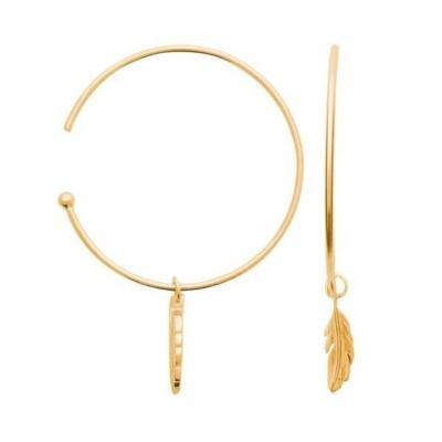Créoles en plaqué or pour femme - Plume - Lyn&Or Bijoux