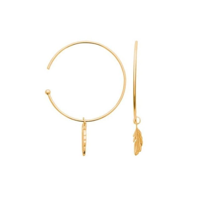 Créoles plume en plaqué or jaune 18 carats pour femme