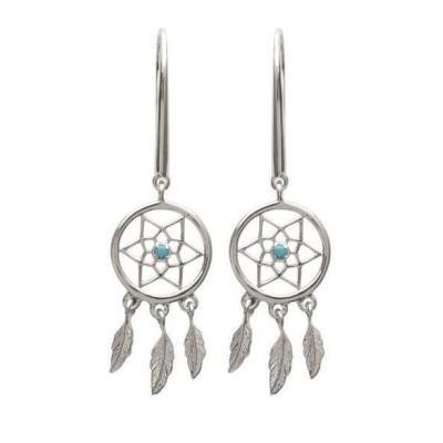 Boucles d'oreilles argent et pierre turquoise - Attrape-rêve