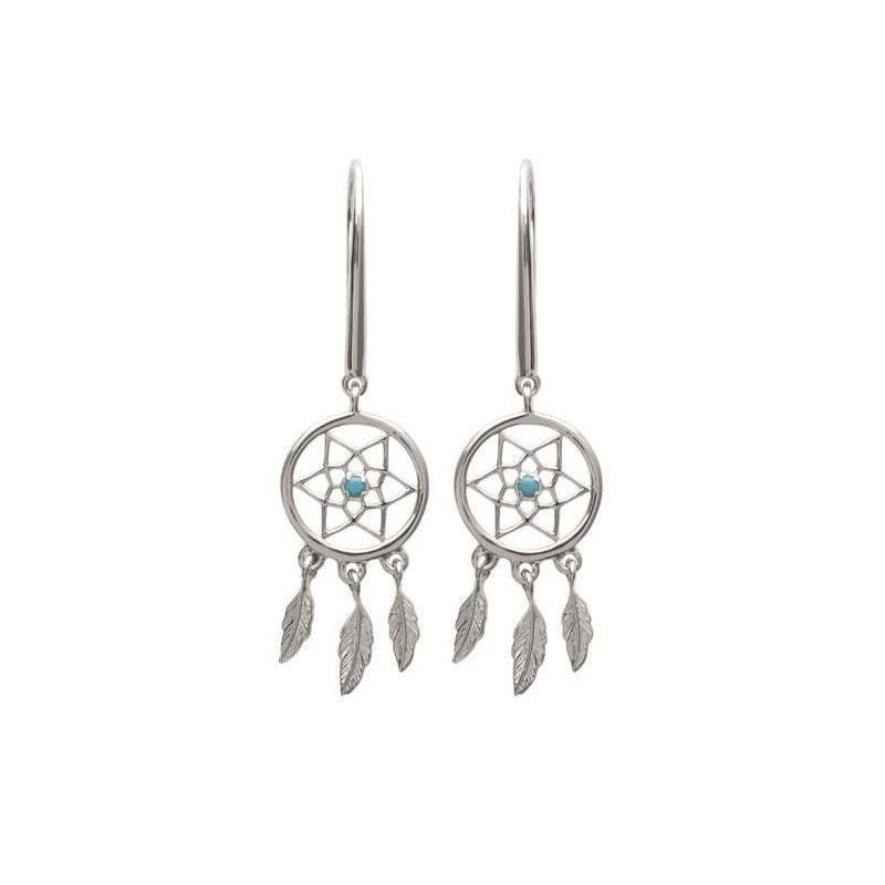 Boucles d'oreilles femme, Argent & pierre turquoise - Attrape-rêve - Lyn&Or Bijoux