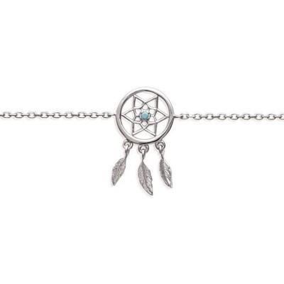 Bracelet argent et pierre turquoise - Attrape-rêve