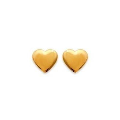Boucles oreilles en plaqué or jaune 18 carats pour fillette, Petit coeur