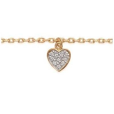 Bracelet de cheville en plaqué or jaune deux tons et zircon, Coeur