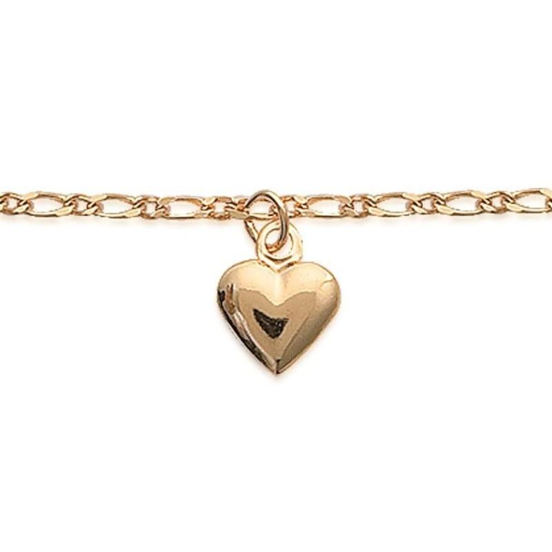 Bracelet de cheville en plaqué or jaune 18k, Coeur