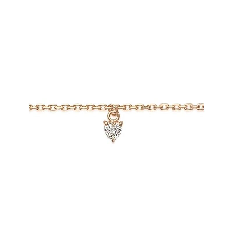 Bracelet de cheville en plaqué or jaune 18k et coeur de zircon