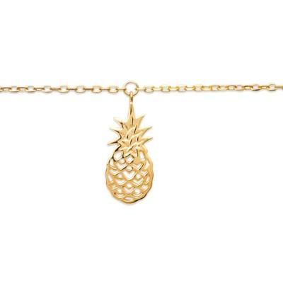 Bracelet de cheville en plaqué or jaune 18k, Ananas