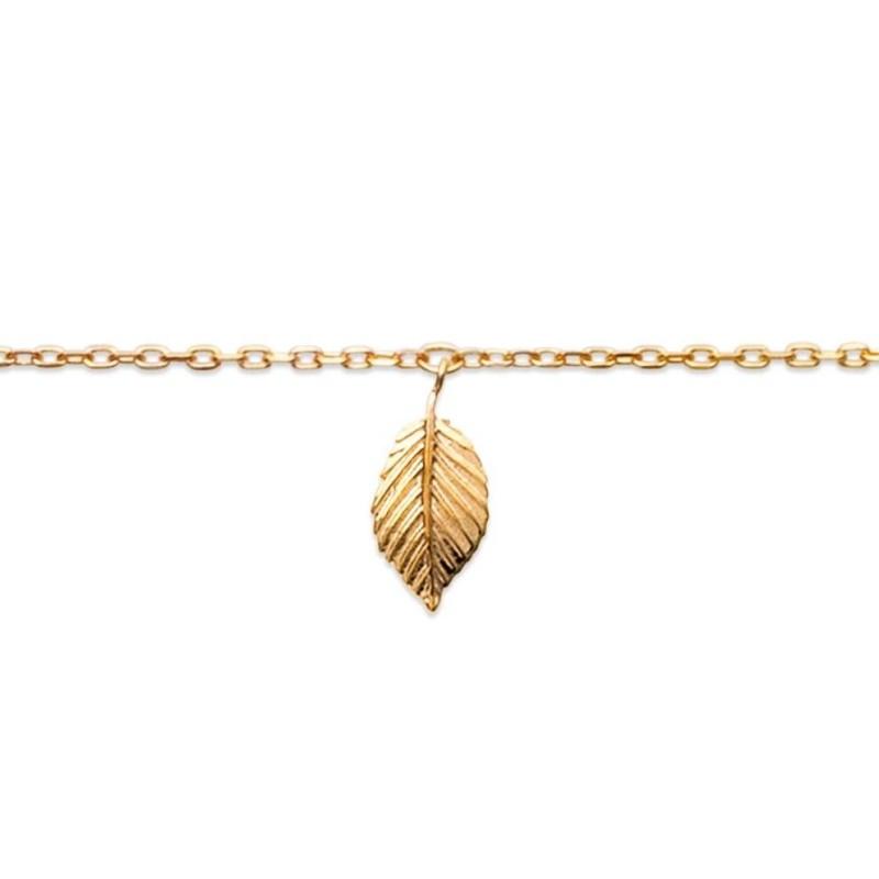 Bracelet de cheville en plaqué or jaune 18k, Feuille