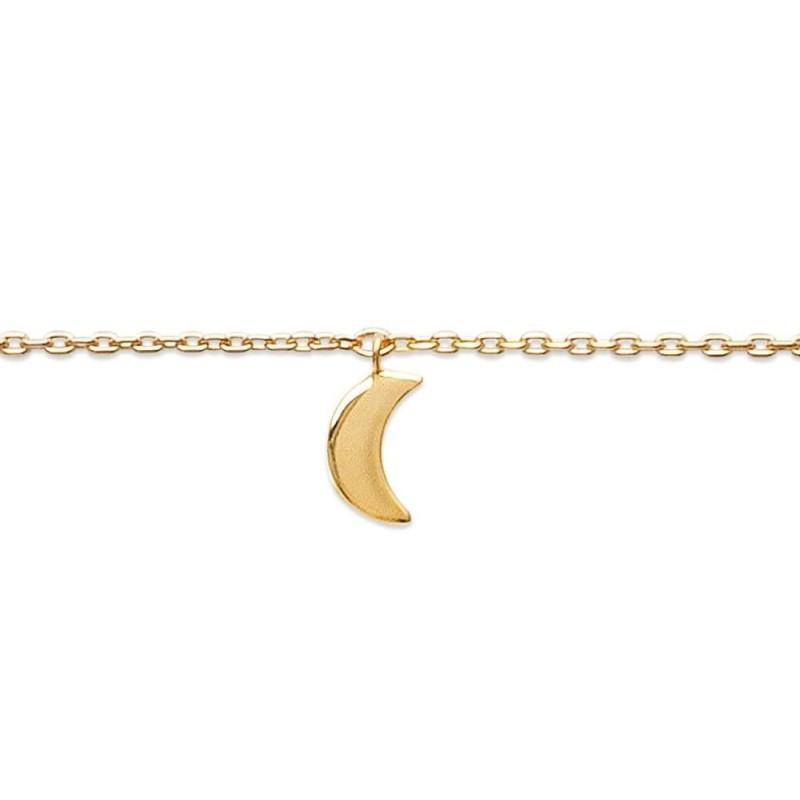 Bracelet de cheville en plaqué or jaune 18k, Lune