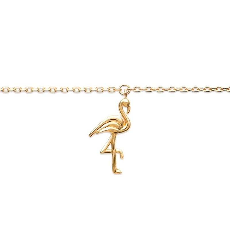 Bracelet de cheville en plaqué or jaune 18k, Flamand-rose