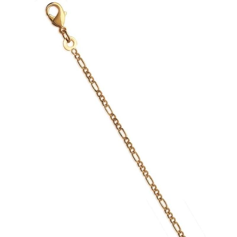 Bracelet de cheville en plaqué or jaune 18k, Figaro 1-3 diamantée