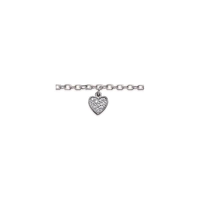 Chaîne de cheville en argent rhodié 925 et zircon, Coeur