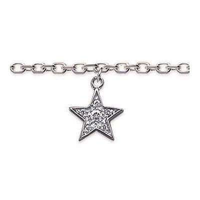 Bracelet de cheville pour femme, argent rhodié et zircon - Etoile