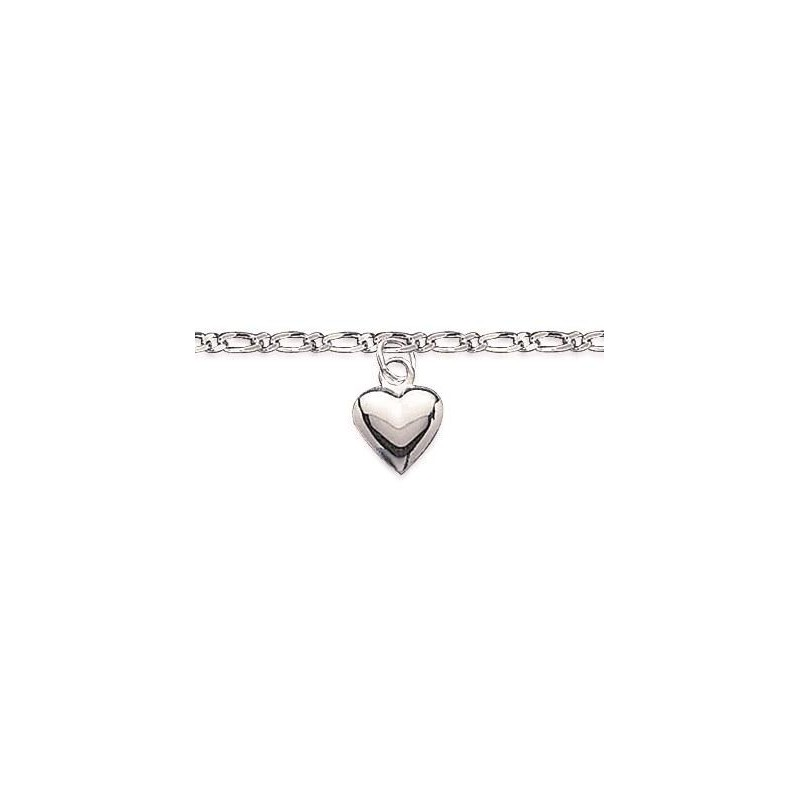 Chaîne de cheville en argent 925, Coeur