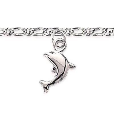 chaîne de cheville pour femme en argent, motif dauphin