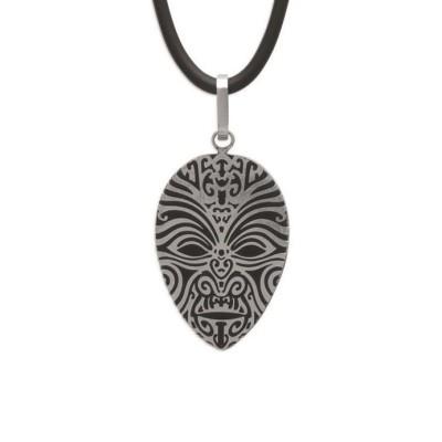 Collier caoutchouc et pendentif acier pour homme, Bijoux Homme