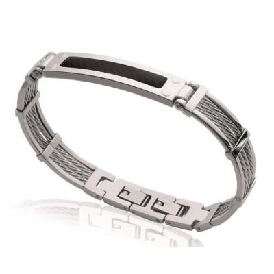 Bracelet pour homme en acier et carbone, Bijoux Homme