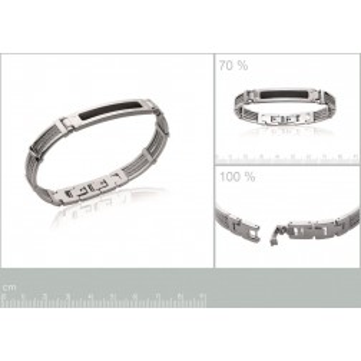 bracelet acier pour homme, avec fibre de carbone  noir - bijoux homme