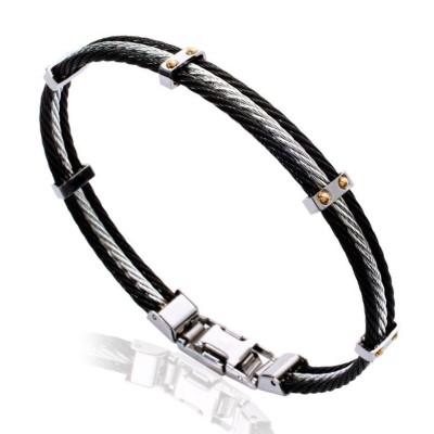 Bracelet pour homme en acier noir - Mathias
