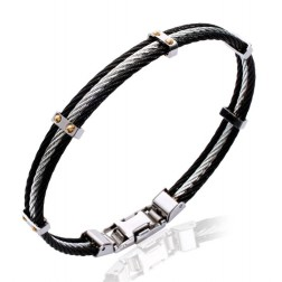 Bracelet pour homme en acier 316L noir, Bijoux Homme