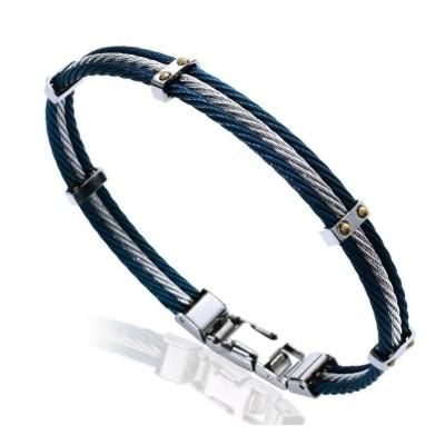 Bracelet pour homme en acier bleu - Mathias