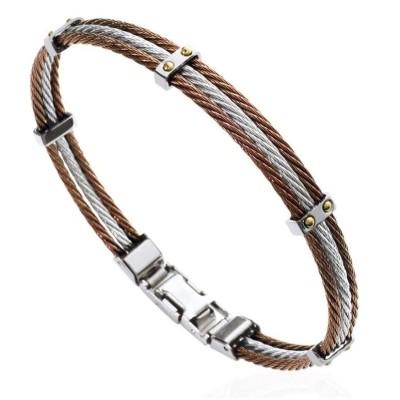 Bracelet pour homme en acier marron - Mathias