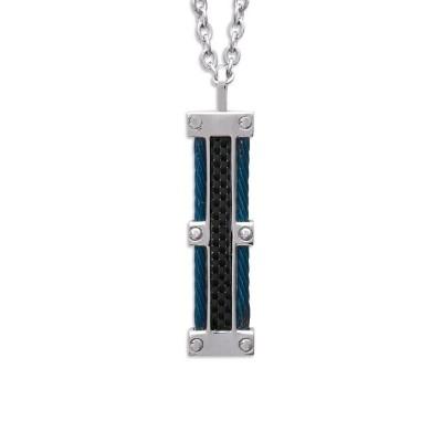 Collier pour homme + pendentif en acier bleu et carbone - Vulcain - Lyn&Or Bijoux