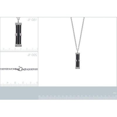 Collier pour homme en câbles d'acier et carbone, Bijoux pour Homme