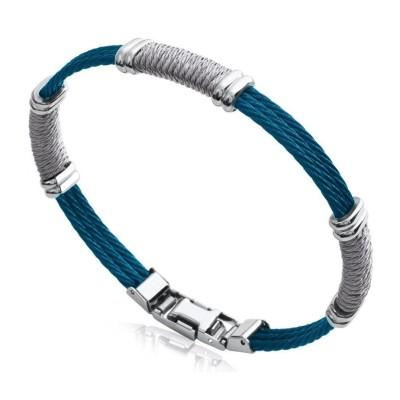 Bracelet rigide pour homme en câbles d'acier bleu et gris, Bijoux Homme