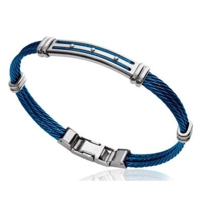 Bracelet câble rigide pour homme en acier bleu, Bijoux Homme